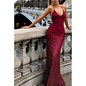 cheap Party Sashes-Mermaid / Trumpet Open Back Formal Evening Dress Halter Neck Sleeveless Sweep / Brush Train Polyester with Pleats Sequin 2020