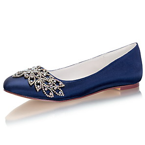 cheap Wedding Shoes-Women's Wedding Shoes Flat Heel Round Toe Rhinestone / Bowknot Satin Spring &  Fall / Summer Dark Blue / Party & Evening