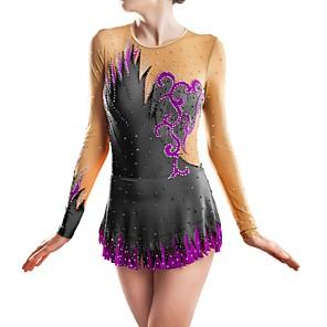 cheap Security Sensors-21Grams Rhythmic Gymnastics Leotards Artistic Gymnastics Leotards Women's Girls' Dress Black Spandex High Elasticity Handmade Jeweled Diamond Look Long Sleeve Competition Dance Ice Skating Rhythmic