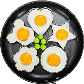 cheap Kitchen Utensils & Gadgets-5pcs/set Fried Egg Pancake Shaper Omelette Mold Mould Frying Egg Cooking Tools Kitchen Accessories Gadget Rings
