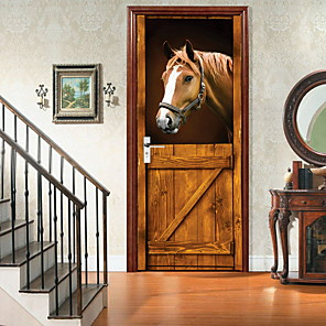 cheap Wall Stickers-AmazingWall Stable 3D Horse Door Decor DIY Home Decoration Closet Poster Door Wall Mural Deca