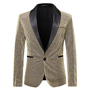 cheap Movie & TV Theme Costumes-Disco 1980s Suits & Blazers Men's Sequins Costume Golden / Champagne / Green Vintage Cosplay Party Halloween Club Long Sleeve / Tuxedo