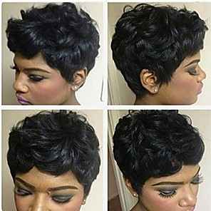 cheap Synthetic Trendy Wigs-Human Hair Blend Wig Short Curly Afro Short Hairstyles 2020 Berry Curly Afro Natural Black African American Wig For Black Women Machine Made Women's Natural Black #1B
