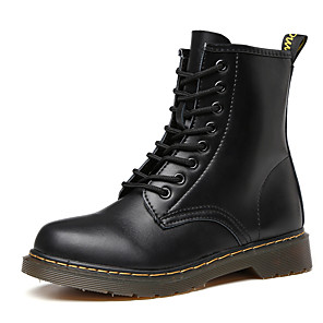 cheap Women's Boots-Women's Boots Low Heel Round Toe Leather Mid-Calf Boots Casual / Minimalism Walking Shoes Spring / Fall & Winter Black