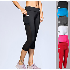 cheap Exercise, Fitness & Yoga Clothing-YUERLIAN Women's Running Capri Leggings Compression Pants Sports & Outdoor 3/4 Tights with Phone Pocket Pocket Spandex Yoga Fitness Gym Workout Running Bodybuilding Breathable Sweat-wicking Sport