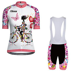 cheap Cycling Jersey & Shorts / Pants Sets-21Grams Women's Short Sleeve Cycling Jersey with Bib Shorts Winter Pink+White Floral Botanical Bike Clothing Suit Breathable Quick Dry Ultraviolet Resistant Sports Floral Botanical Mountain Bike MTB