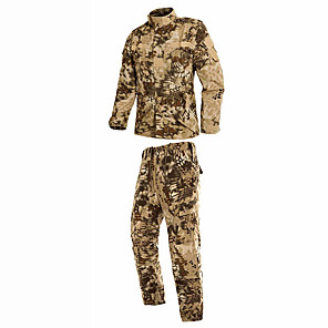cheap Hunting Cameras-Men's Hunting Jacket with Pants Camo / Camouflage Winter Outdoor Breathable Comfortable Cotton Clothing Suit Camping / Hiking Hunting Climbing Yellow XS S M L XL