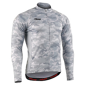 cheap Cycling Jerseys-21Grams Men's Long Sleeve Cycling Jersey Winter Spandex Polyester Titanium Bike Jersey Top Mountain Bike MTB Road Bike Cycling UV Resistant Breathable Quick Dry Sports Clothing Apparel / Stretchy