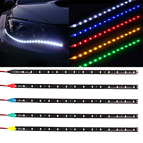 cheap Car Body Decoration & Protection-10pcs 12V 30cm 15LED 3528 SMD Waterproof Car Auto Flexible Strip Lights For Car Auto Bike Motorcycle Truck Decoration Lighting