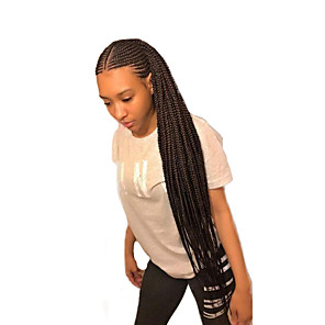 cheap Synthetic Lace Wigs-Synthetic Lace Front Wig Box Braids Braid Lace Front Wig Long Natural Black Synthetic Hair 24 inch Women's Women Synthetic Braided Wig Black