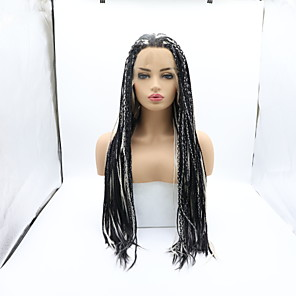 cheap Synthetic Lace Wigs-Synthetic Lace Front Wig Plaited Braid Lace Front Wig Medium Length Black / White Synthetic Hair 26 inch Women's Women Faux Locs Wig Braided Wig Black White Sylvia