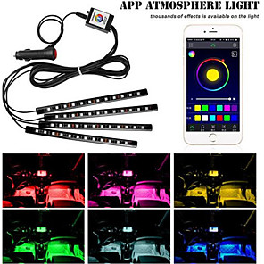 cheap Car DVR-1set 12LED RGB Car Interior Decorative Floor Atmosphere Lamp Light Strip Smart Intelligent Wireless Phone APP Control Car Stylin