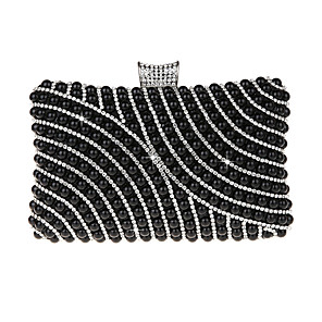 cheap Clutches & Evening Bags-Women's Beading / Pearls PU Evening Bag Black / Purple / Gold