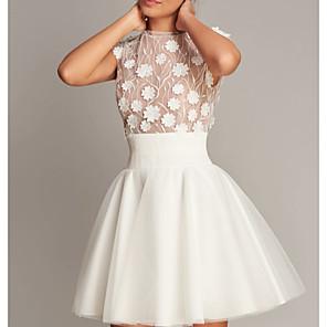 cheap Bridesmaid Dresses-A-Line Jewel Neck Short / Mini Tulle Bridesmaid Dress with Appliques / Open Back