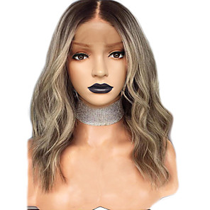 cheap Synthetic Trendy Wigs-Synthetic Lace Front Wig Wavy Middle Part Lace Front Wig Ombre Short Ombre Color Synthetic Hair 12-16 inch Women's Adjustable Heat Resistant Party Ombre