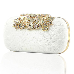 cheap Clutches & Evening Bags-Women's Crystals / Lace Synthetic / PU Evening Bag Solid Color White