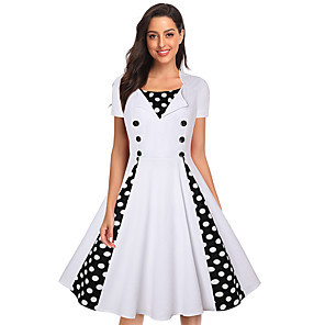 cheap Historical & Vintage Costumes-Audrey Hepburn Vintage Inspired Dress Women's Spandex Costume White / Red Vintage Cosplay Casual / Daily Short Sleeve