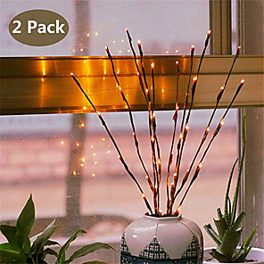 cheap LED String Lights-2pcs 20 Bulbs LED Willow Branch Lamp Battery Powered Natural Tall Vase Filler Willow Twig Lighted Branch For Home Decoration