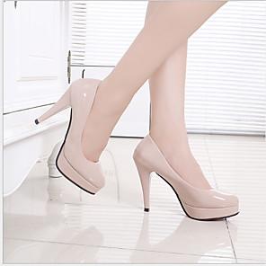 cheap Women's Heels-Women's Heels Fall & Winter Stiletto Heel Round Toe Daily PU Almond / White / Black / 3-4