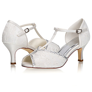 cheap Wedding Shoes-Women's Wedding Shoes Glitter Crystal Sequined Jeweled Stiletto Heel Peep Toe Sparkling Glitter Lace / Satin Sweet / Minimalism Spring & Summer / Fall & Winter Ivory / Party & Evening