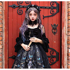 cheap Anime Costumes-Glamorous & Dramatic Gothic Lolita Shiro& Kuro Lolita Dress Cosplay Costume Female Japanese Cosplay Costumes Black Cartoon Characters Butterfly Skull Lace Sleeves 3/4 Length Sleeve Knee Length