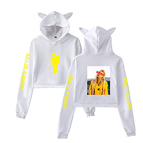 cheap Everyday Cosplay Anime Hoodies & T-Shirts-Inspired by Cosplay Billie Eilish Cosplay Costume Hoodie Pure Cotton Print Printing Fancy Hoodie For Women's