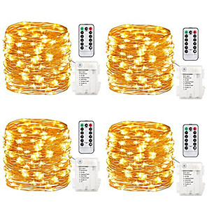povoljno LED svjetla u traci-10m Setovi svjetala Žice sa svjetlima 100 LED diode SMD 0603 1 13Ključuje daljinski upravljač 4kom Toplo bijelo Bijela Više boja dan zahvalnosti Božić Vodootporno Party Ukrasno AA baterije su