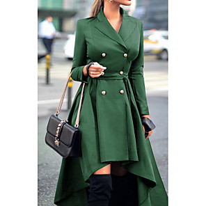 cheap Historical & Vintage Costumes-Women's Daily Fall & Winter Long Trench Coat, Solid Colored Turndown Long Sleeve Polyester Purple / Red / Green