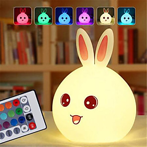 cheap Smart Lights-Dozzlor Cartoon Rabbit LED Night Light Remote Touch Sensor Colorful USB Silicone Bunny Bedside Lamp For Children Kids Baby