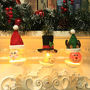 cheap Christmas Decorations-3pcs LED Bulb Christmas Hanging Lamp Suspension Light Decoration Xmas Tree OrnamentsSanta Claus Snowman Reindeer