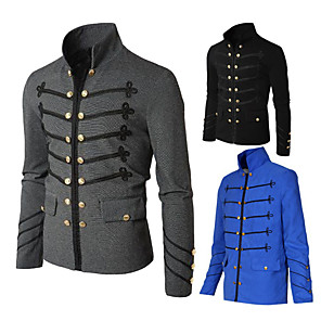 cheap Historical & Vintage Costumes-Plague Doctor Retro Vintage Steampunk Masquerade Jacket Men's Costume Black / Blue / Gray Vintage Cosplay Party Halloween Long Sleeve / Coat