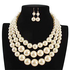 cheap Jewelry Sets-Women's Pearl Bridal Jewelry Sets Classic Donuts Stylish Imitation Pearl Earrings Jewelry White For Party Festival 1 set