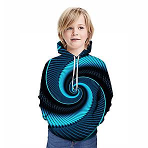 cheap Indoor Wall Lights-Kids Boys' Active Street chic Geometric 3D Patchwork Print Long Sleeve Hoodie & Sweatshirt Blue