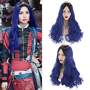 cheap Synthetic Lace Wigs-Synthetic Wig Ombre Cosplay Wig Wavy Body Wave Middle Part Wig Long Blue Synthetic Hair 26 inch Women's Cosplay Silky Party Blue