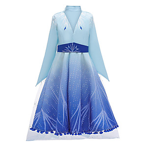 cheap Movie & TV Theme Costumes-Elsa Dress Masquerade Flower Girl Dress Girls' Movie Cosplay A-Line Slip Cosplay Halloween Light Blue Dress Halloween Carnival Masquerade Tulle Polyester