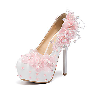 cheap Wedding Shoes-Women's Wedding Shoes Glitter Crystal Sequined Jeweled Stiletto Heel Round Toe PU Fall & Winter White / Light Pink / Party & Evening