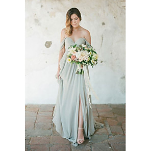 cheap Bridesmaid Dresses-A-Line Sweetheart Neckline Floor Length Chiffon Bridesmaid Dress with Split Front / Pleats