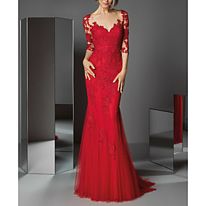 cheap Evening Dresses-Mermaid / Trumpet Beautiful Back Red Wedding Guest Formal Evening Dress V Neck 3/4 Length Sleeve Sweep / Brush Train Lace with Buttons Appliques 2020