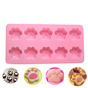 cheap Bakeware-10 Grid Cat Dog Claws Silicone Mold DIY Chocolate Cake Decorating Bakeware Tool 3D Cooking Mould
