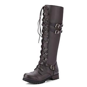 cheap Women's Boots-Women's Boots Flat Heel Round Toe PU Mid-Calf Boots Fall & Winter Black / Brown / Dark Brown