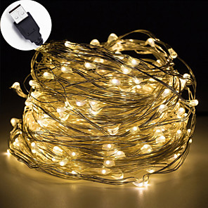 cheap LED Strip Lights-1pc 5m 50leds USB LED String Light Waterproof LED Copper Wire String Holiday Outdoor Fairy Lights For Christmas Party Wedding Decoration