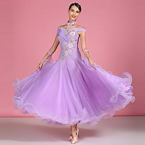 cheap Dancewear-Ballroom Dance Dress Appliques Split Joint Crystals / Rhinestones Women's Performance High Spandex Organza Tulle