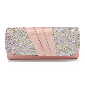 cheap Clutches & Evening Bags-Women's Sequin / Glitter PU Evening Bag Solid Color Black / Blushing Pink / Gold