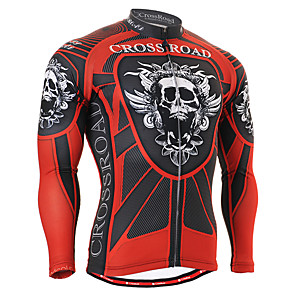 cheap Cycling Jerseys-21Grams Women's Long Sleeve Cycling Jersey Winter Spandex Polyester Black / Red Skull Bike Jersey Top Mountain Bike MTB Road Bike Cycling UV Resistant Breathable Quick Dry Sports Clothing Apparel