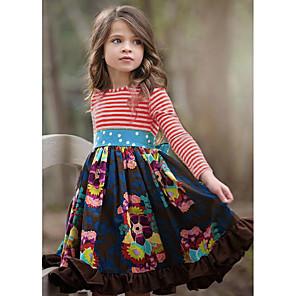 cheap Girls' Dresses-Kids Girls' Flower Basic Striped Pleated Patchwork Long Sleeve Knee-length Dress Red / Cotton