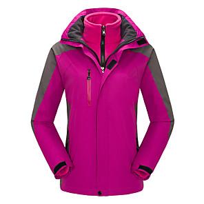 cheap Softshell, Fleece & Hiking Jackets-Women's Hiking 3-in-1 Jackets Hiking Jacket Winter Outdoor Thermal / Warm Waterproof Windproof Breathable Jacket 3-in-1 Jacket Winter Jacket Skiing Camping / Hiking Hunting Purple / Yellow / Red