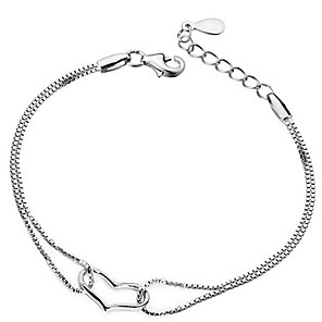 cheap Bracelets-925 sterling silver hot sale heart crystal bracelet and bracelet women Valentine's Day gift length adjustable 16-22cm