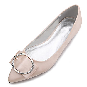 cheap Wedding Shoes-Women's Wedding Shoes Flat Heel Pointed Toe Rhinestone / Buckle Satin Classic / Sweet Spring & Summer / Fall & Winter White / Purple / Champagne / Party & Evening