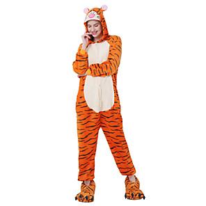 cheap Kigurumi Pajamas-Kigurumi Pajamas Adults' Men and Women Halloween Carnival Festival / Holiday Flannel Toison Orange Carnival Costumes / Tiger