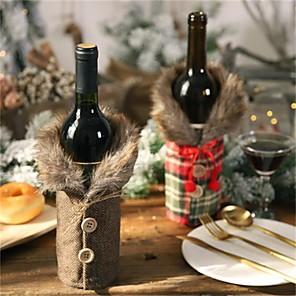 halpa Joulukoristeet-joulu viinipullo villapaita koristeet uusi viinipullo asettaa keula pellava viinipullo asettaa loma sisustus rekvisiitta 12 * 24cm